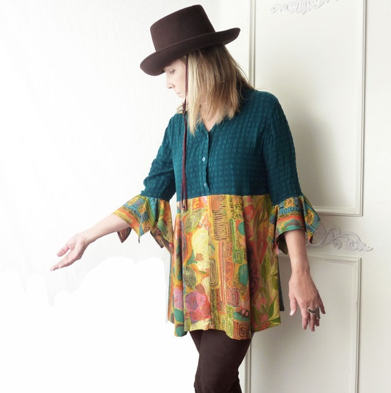 Upcycled Clothing Tunic Top Silk Teal Shirt With Orange