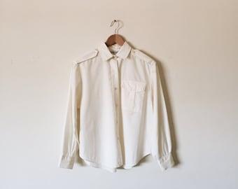 m/l off-white button-up blouse