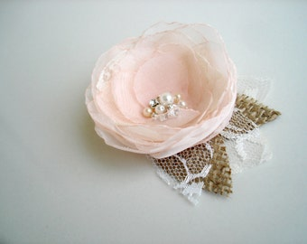 Blush Pink Wedding Hairpiece, Rustic Bridal Hair Flower, Pale Pink Hair Clip, Flower  Head Piece, Bridesmaid, Flower Girl Hair Accessory
