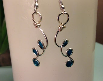 Teal silver plated wire earrings