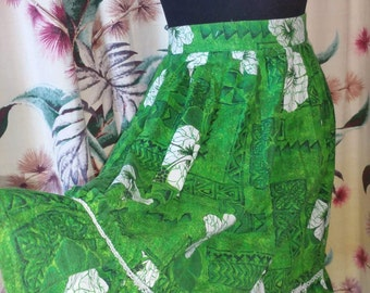 1960s Barkcloth Hawaiian Skirt