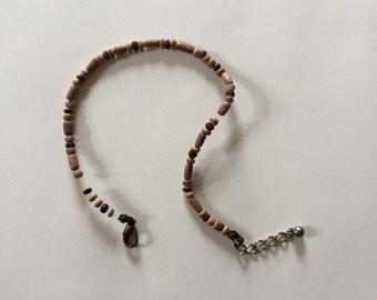 Cool Vintage 1970s Carved Wood Beaded Bracelet