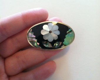 Vintage Mexican Mother of Pearl and Abalone Shell Alpaca Brooch