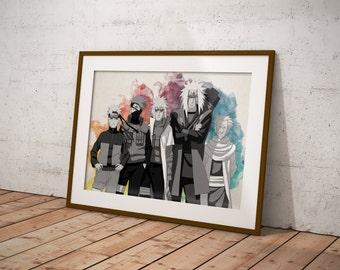 Naruto Shippuuden Poster, Naruto Poster, Minato, Jiraiya, Sarutobi, Hokages, Naruto Art, Anime Watercolor Poster