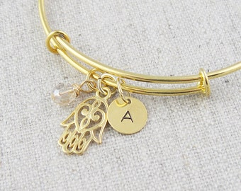Gold hamsa hand bracelet, personalized, initial bracelet, hand of fatima, swarovski crystal, spiritual jewelry, good luck charm, gold bangle