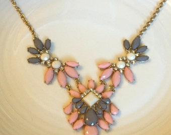 Pink Flower Necklace, Pink Floral Necklace, Pink Stone Necklace, Pink Flower Necklace, Crystal Statement Necklace, Pink Crystal Necklace