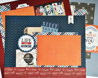 Premade Scrapbook Pages, Premade Scrapbook Layout, Boy Layout, 12x12 Scrapbook Pages, 12x12 Scrapbook Layout, Premade Pages, Premade Layout
