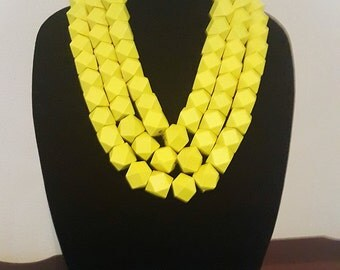 Yellow wooden faceted bead necklace