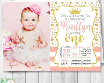 Tiara Princess First Birthday Invitation Card, Pink Princess Party Invite With Picture, Pink & Gold Glitter, Printable Card, Popular E-Card