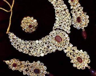 Maroon and Gold Plated Earring, Necklace and Ring Jewelry Set