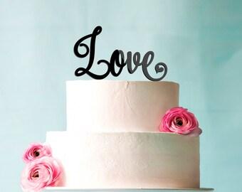 Love Cursive Custom Wedding Cake Topper anniversary acrylic CT0020
