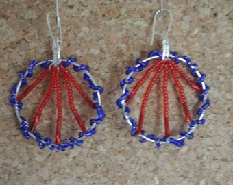 Red and Blue Bead earrings
