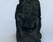 Vintage Hawaiian Lava Statue of Maile ~ Lei Seller ~ 1964 ~ CoCo Joe's ~