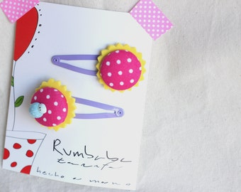 Mauve infant Ladybug hair clip