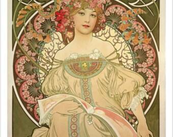 Champane Printer Publisher Vintage Poster 1897 A Mucha 24x36 Flowers Girl