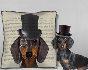 Dachshund cushion cover Formal Hat & Hound Dachshund pillow cover Doxie Pillow Cover Doxie cushion cover wiener dog Sausage dog throw pillow