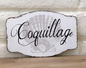 Coquillage Wood Sign, French Coastal Decor, Coastal French Sign, French Theme Sign, Seashell Decor, Shabby Beach Sign, Seashell Decor, Gift