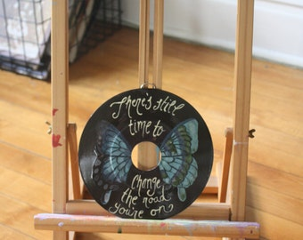 """Led Zeppelin """"Stairway to Heaven"""" Lyric EP Record Painting"""