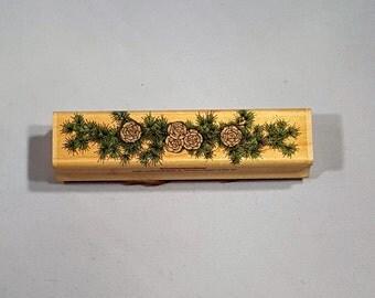 "Vintage 1995 Hero Arts Cedar Greenery Rubber Stamp 4"" x 1"""