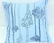 Handmade pillowcase 50 by 50cm - floral pen drawing - light colours - silkscreen