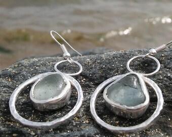 Opaque Blue - White Sea Glass Earrings, Sea glass earrings, Silver hoops earrings, Seaglass, jewelry, Sea glass jewellery, Drop earrings.