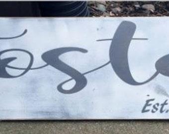 Wood Name Sign, Customized Name Sign, Name & Established Sign