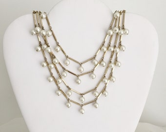 Pearly Gold Bar Tiered Necklace