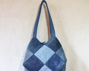 Ombre Jewel Handbag (Denim/Jean/Patchwork/Recycled/Repurposed/Upcycled)