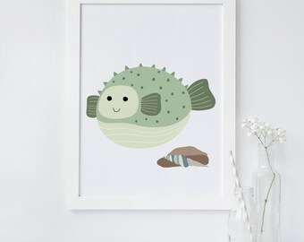 Blow Fish Print, Fish printable, Blow fish art, Nursery art print, Fish nursery decor, Minimalist art, instant download, wall art printable