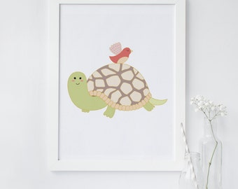 Turtle wall art, Tortoise art, Nursery animal art print, Nursery turtle print, turtle printable, bird nursery, instant download art