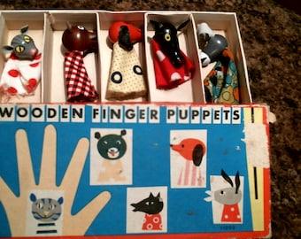 Vintage wooden finger puppets