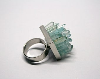 Quartz Point Cluster Adjustable Ring | Silver Plated, Aqua Aura Quartz Statement Ring