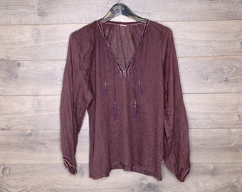 Brown Indian cotton long sleeve shirt
