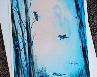 The Angel with birds - card colours - spiritual - birthday - party-CC-LP-0046