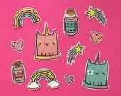 Unicorn Cat Stickers, Cute Illustrated Stickers, Stationery Gift, Planner Decoration, Hand Drawn Sticker, Unicorn Magic!