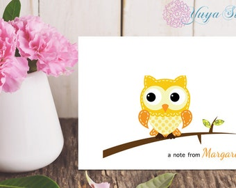 Personalized Yellow Owl Stationery / Owl Custom Stationery / Custom Stationery Set / Custom Owl notes/ Set of 12 note cards