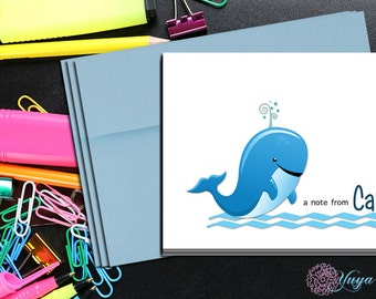 Personalize Whale Thank You Cards / Custom baby Stationery / Personalized whale Stationery Set / Personalize baby Stationery / Set of 12