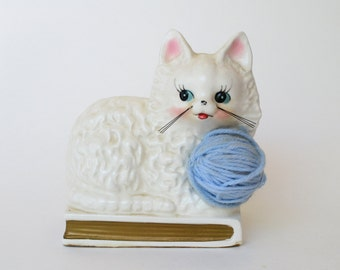 Vintage Ceramic White Kitty with Blue Yarn