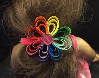 Large 8  Petal Flower Hair Clip