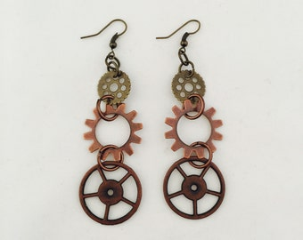 Steampunk Gear Earrings Steampunk Earrings Steampunk Jewelry Metal Gears