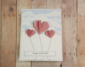 3D Heart Balloon Mother's Day Greeting Card - With Envelope - Top Folding