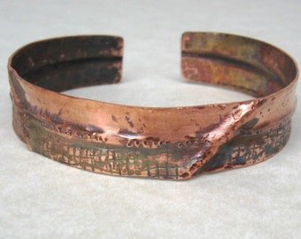 Copper folded textured hammered thin cuff bracelet