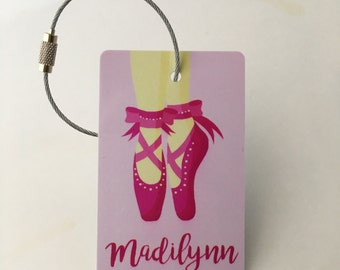 Ballet Luggage Tag - FREE SHIPPING, Luggage Tag, Diaper Bag Tag, Diaper Bag, Pink Luggage Tag, Ballet Gift, Gift for Her, Birthday Gift