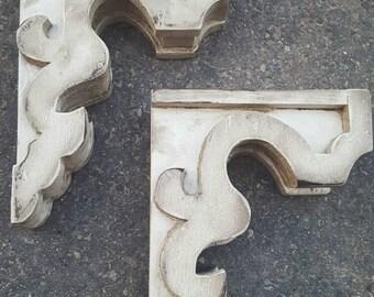 Pair of Wood Corbels Rustic Shelf Brackets Bookends Wooden Modern Farmhouse Decor Distressed Custom Built Handmade
