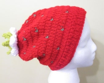Adult slouchy strawberry hat