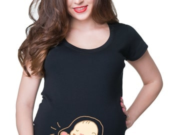 Pregnancy T-Shirt Birth Announcement Maternity Top Funny Baby Boxing Kicking Pregnancy Tee