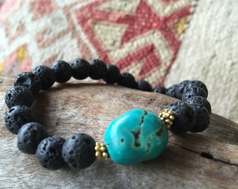 Black Lava and Turquoise Stretch Bracelet, Beaded Bracelet, Boho Beaded Bracelet