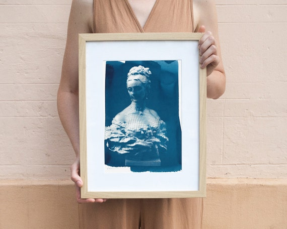 3d-Render of Victorian Woman Bust Cyanotype Print on Watercolor Paper, A4 size
