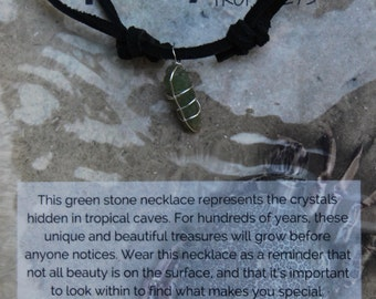 Green Crystal Silver Wrapped Black Deerskin Lace Necklace