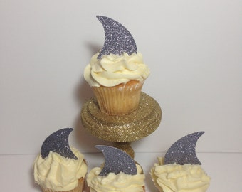 Shark Fin Cupcake Toppers (Shark Decorations, Beach Party, Shark Theme)
